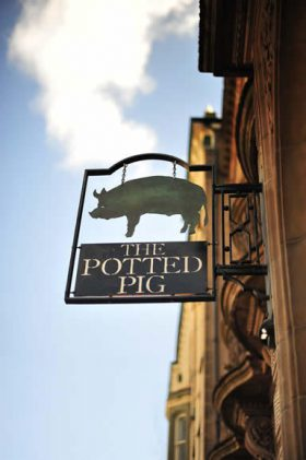 Our Potted Pig Hanging sign