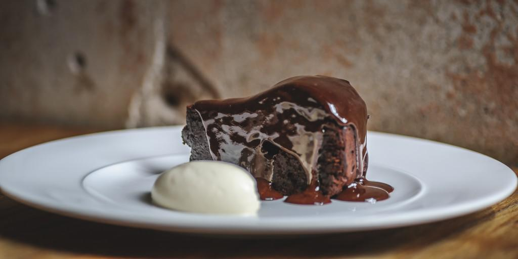 Ridiculous chocolate cake with salted caramel sauce